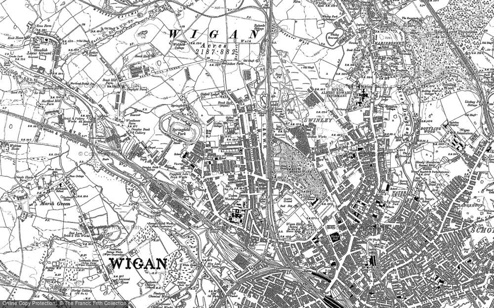 Old Map of Historic Map covering Whitley in 1892