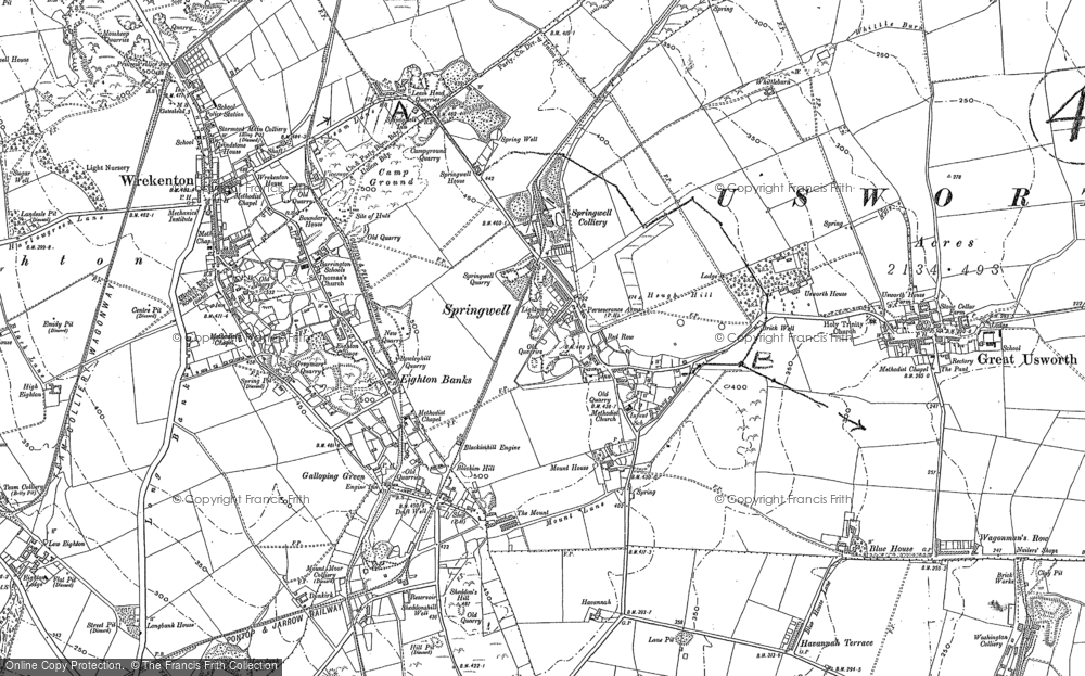 Old Map of Springwell, 1895 in 1895