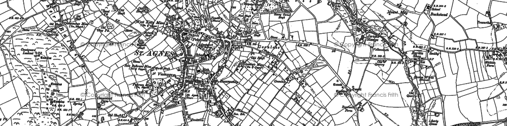 Old map of St Agnes in 1906