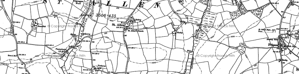 Old map of St Allen in 1886