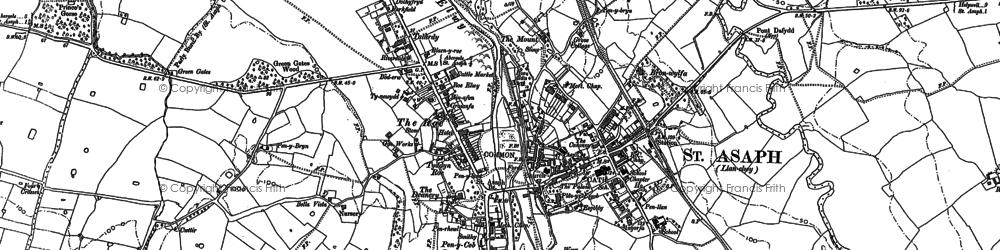 Old map of St Asaph in 1898