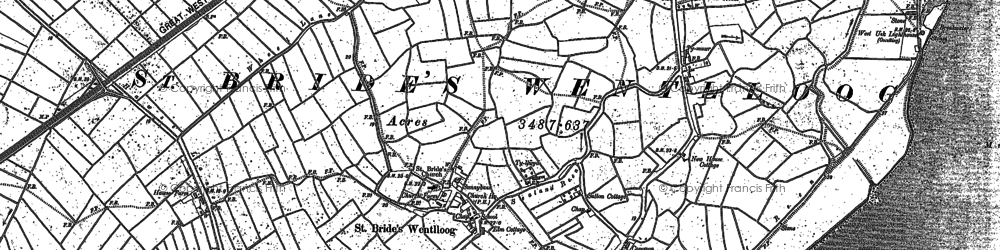 Old map of West Usk Lighthouse in 1900