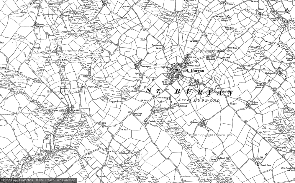 Old Map of St Buryan, 1906 - 1907 in 1906