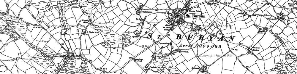 Old map of St Buryan in 1906