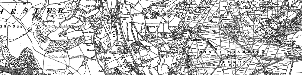 Old map of Atcombe Court in 1882