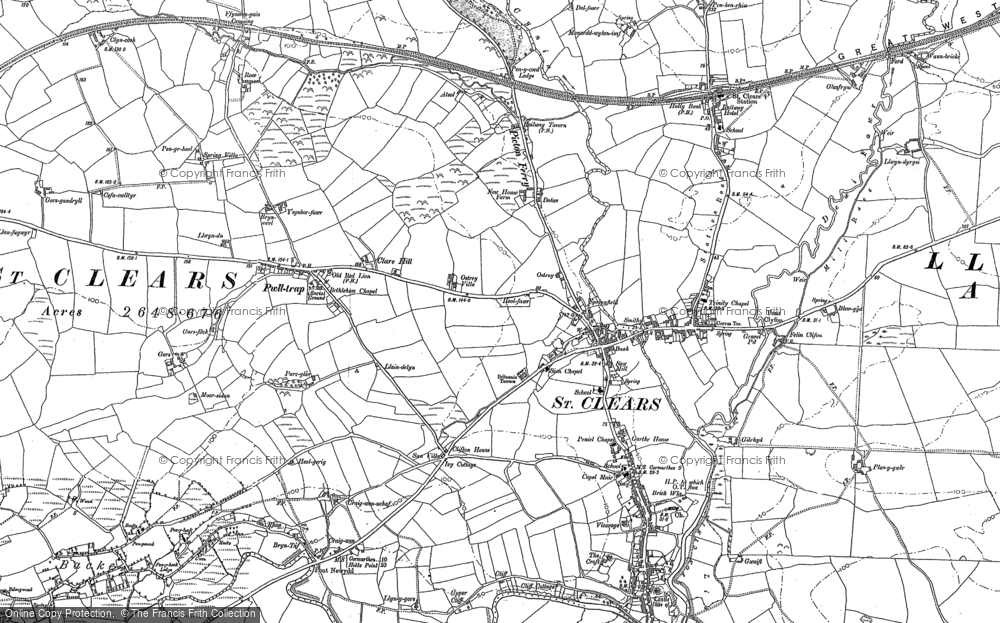 Old Map of Historic Map covering Afon Dewi Fawr in 1886