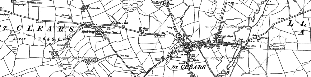 Old map of St Clears in 1886