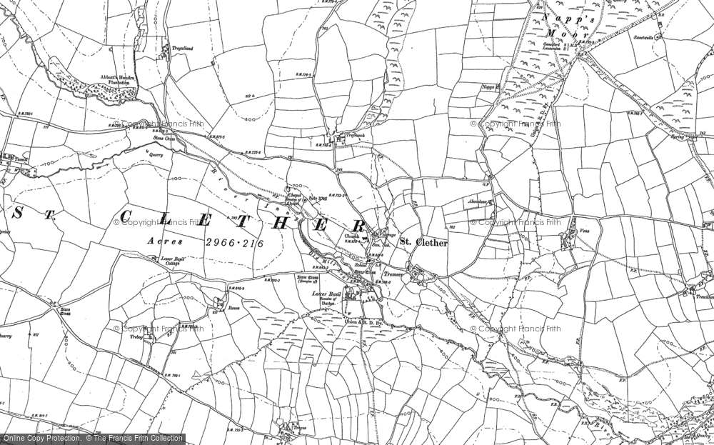 Old Map of Historic Map covering Abbott's Hendra in 1882