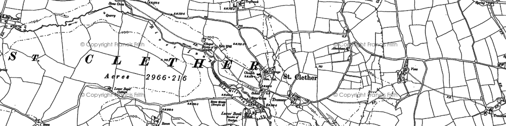 Old map of Abbott's Hendra in 1882