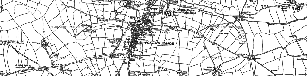 Old map of St Columb Major in 1880