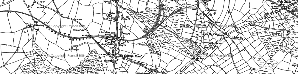 Old map of St Columb Road in 1879
