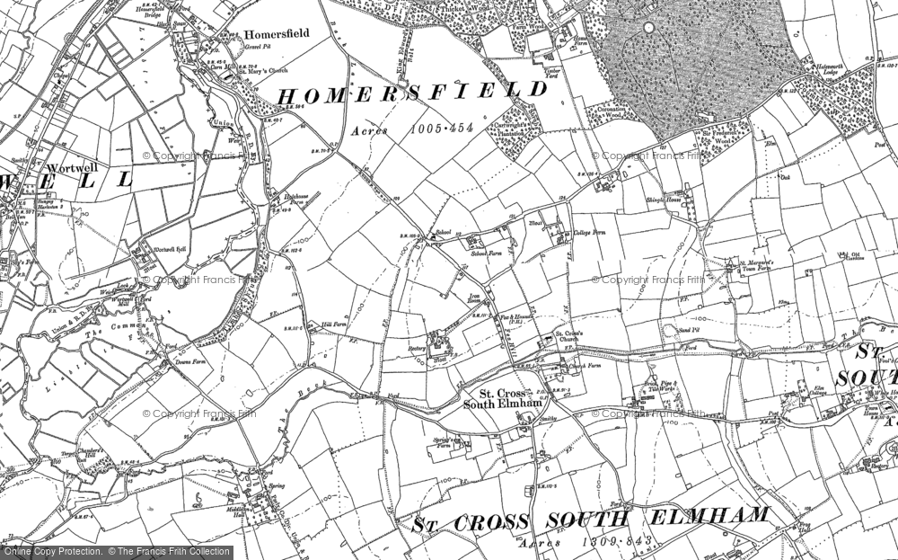 Old Map of St Cross South Elmham, 1903 in 1903