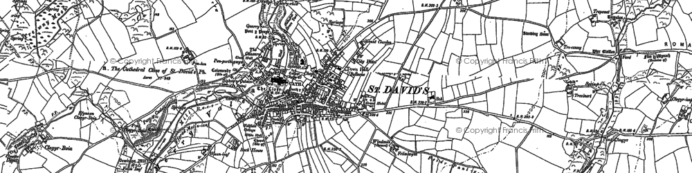 Old map of St Davids in 1906