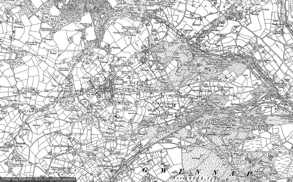 Map of St Day, 1879 - 1906