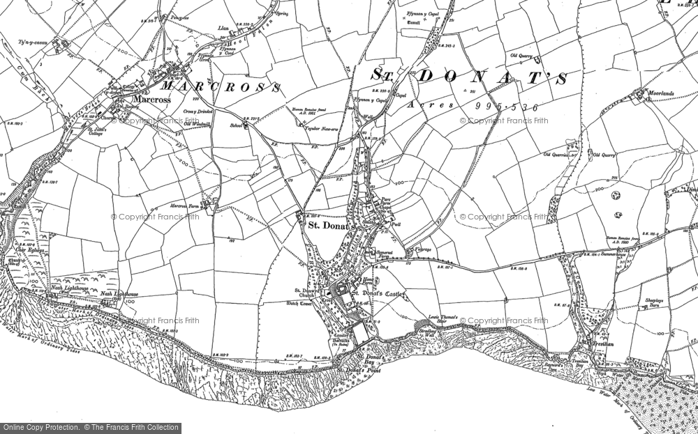 Old Map of St Donat's, 1897 in 1897