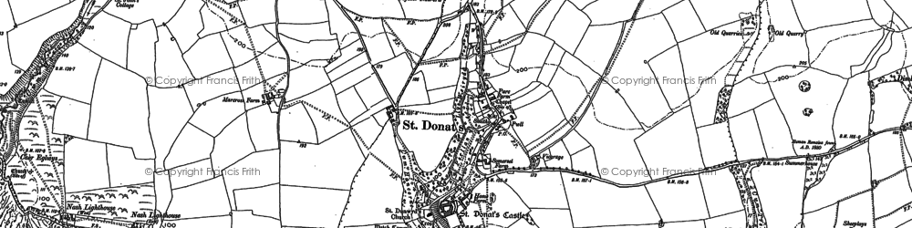 Old map of St Donat's in 1897