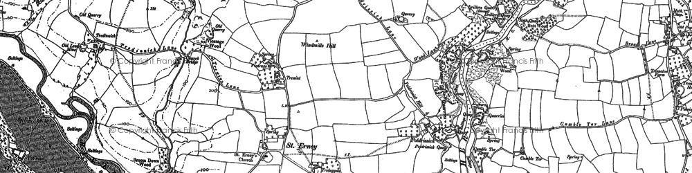 Old map of St Erney in 1888