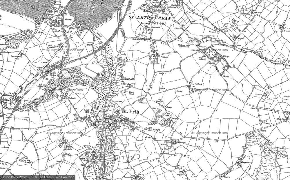 Old Map of St Erth, 1877 in 1877