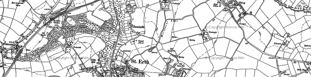 Old map of St Erth in 1877