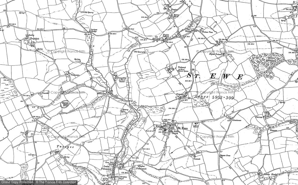 Old Map of Historic Map covering Kestle in 1879