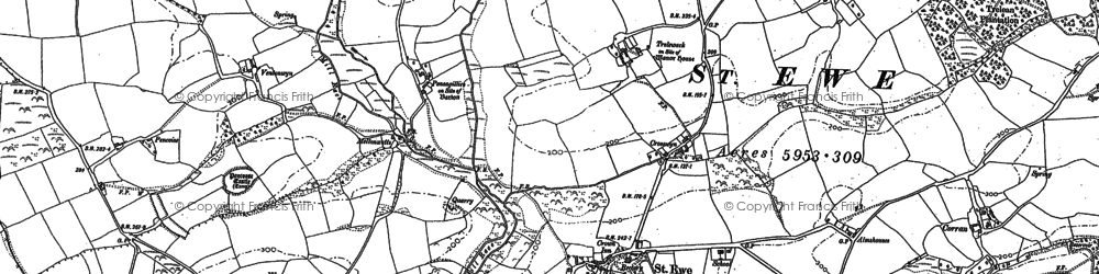Old map of St Ewe in 1879