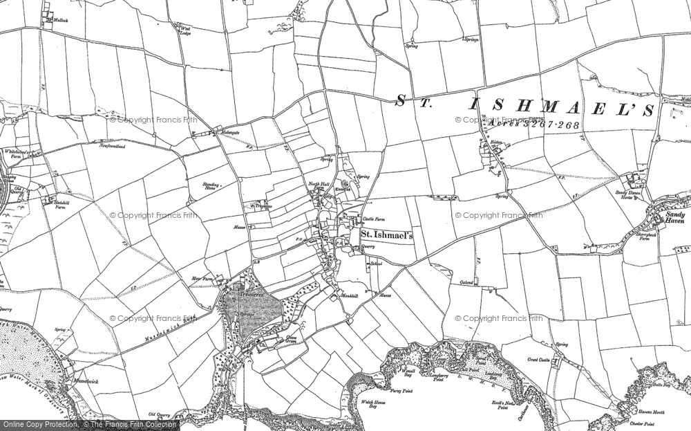 Old Map of Historic Map covering Lindsway Bay in 1948