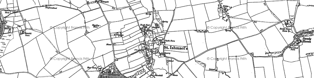 Old map of St Ishmael's in 1948