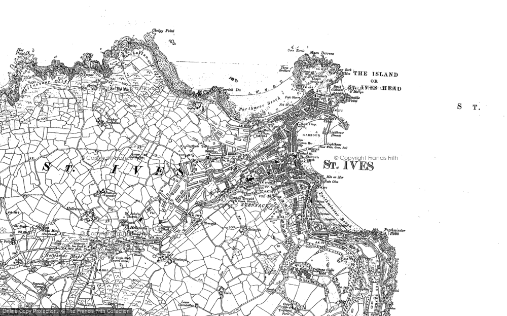 Map of St Ives, 1906