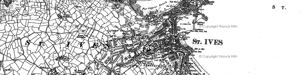 Old map of St Ives in 1906