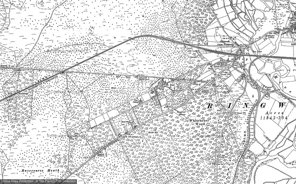 Old Map of Historic Map covering Avon Heath Country Park in 1908