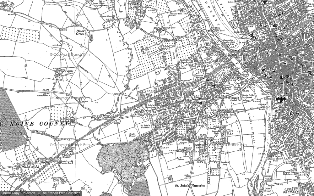 Old Map of Historic Map covering Wick Episcopi in 1884