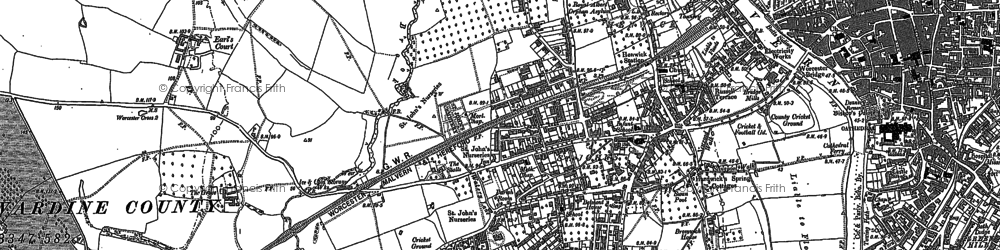 Old map of Wick Episcopi in 1884