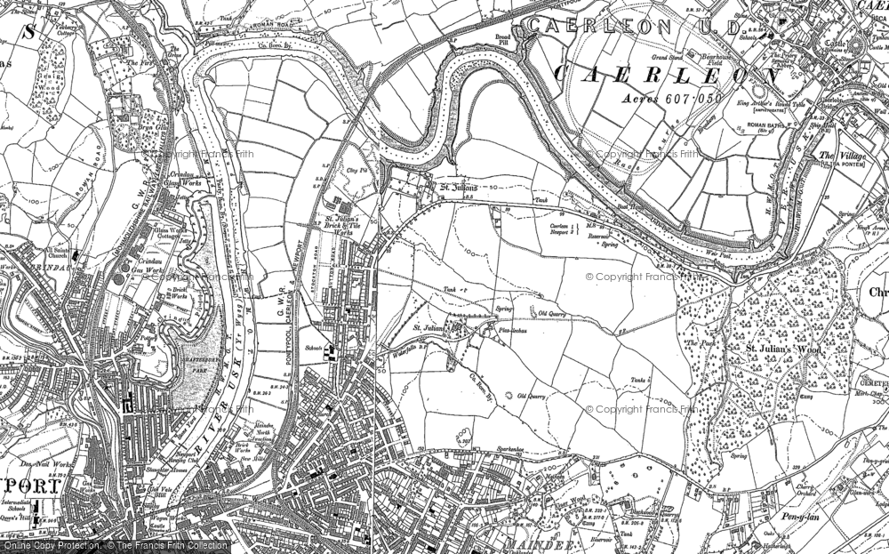 Old Map of Historic Map covering Beechwood in 1900