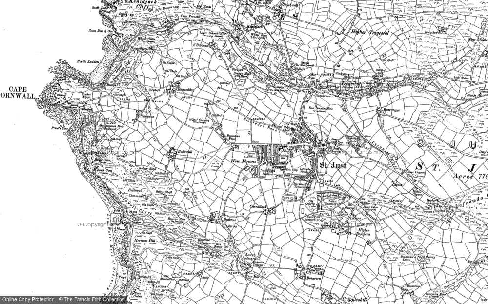 Old Map of St Just, 1906 in 1906