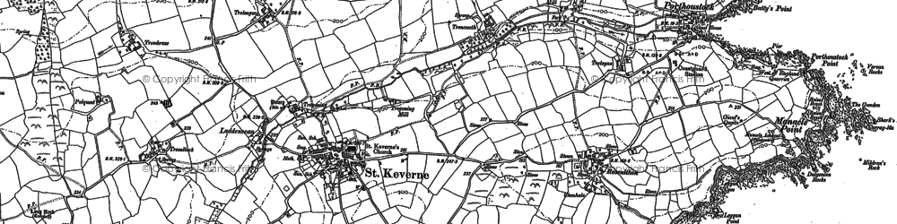 Old map of St Keverne in 1906