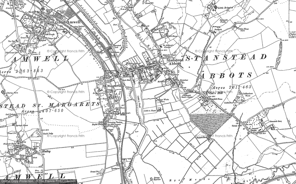 Old Map of St Margarets, 1896 - 1938 in 1896