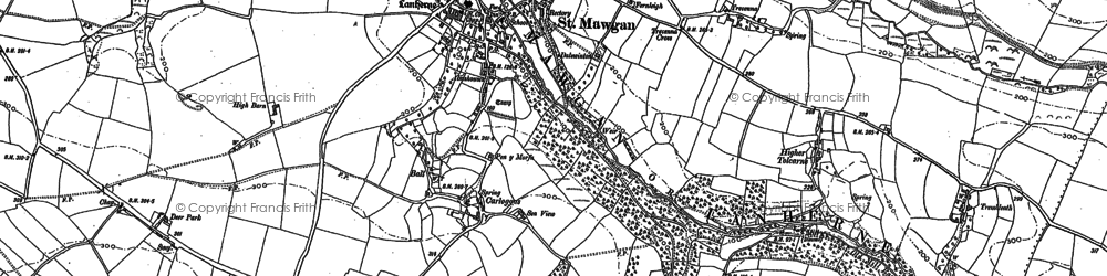 Old map of Vale of Mawgan in 1880