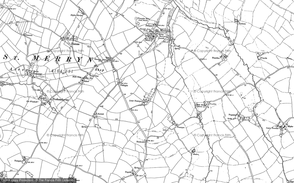 Old Map of St Merryn, 1880 in 1880