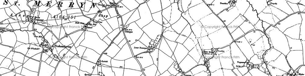 Old map of St Merryn in 1880