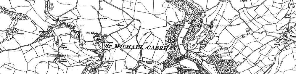 Old map of St Michael Caerhays in 1879