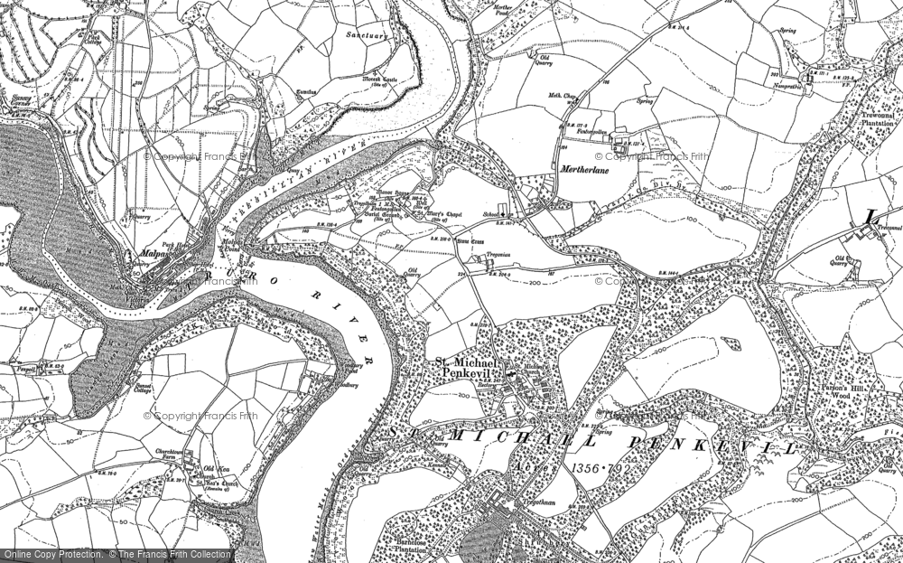 Old Map of St Michael Penkevil, 1879 in 1879