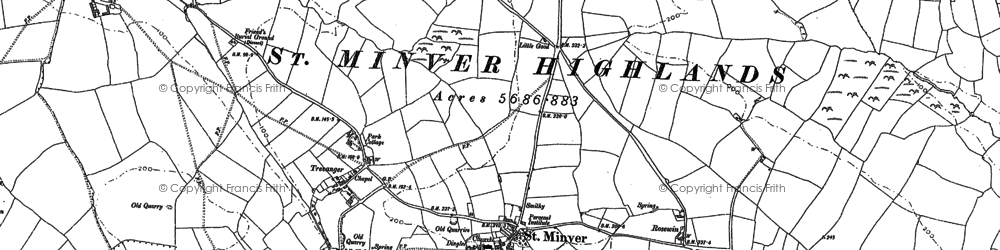 Old map of St Minver in 1880