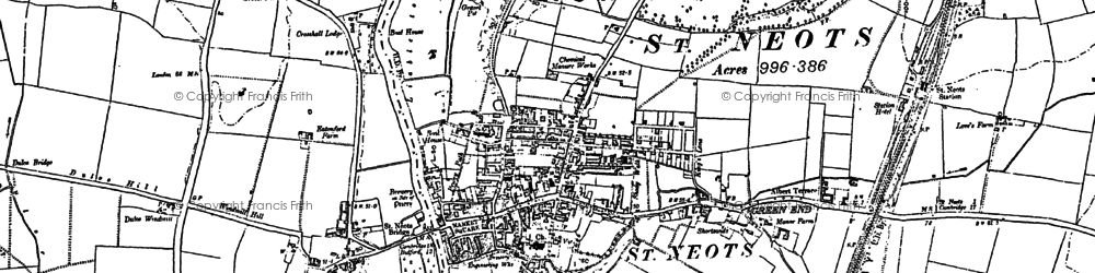 Old map of St Neots in 1900