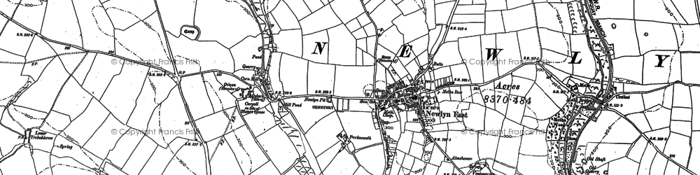 Old map of St Newlyn East in 1879