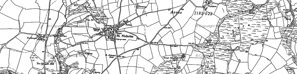 Old map of Aber Bach in 1887