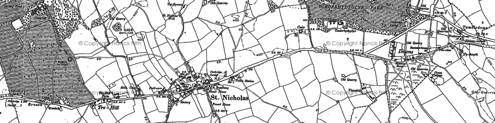 Old map of Tinkinswood in 1898