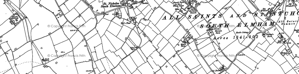 Old map of St Nicholas South Elmham in 1903