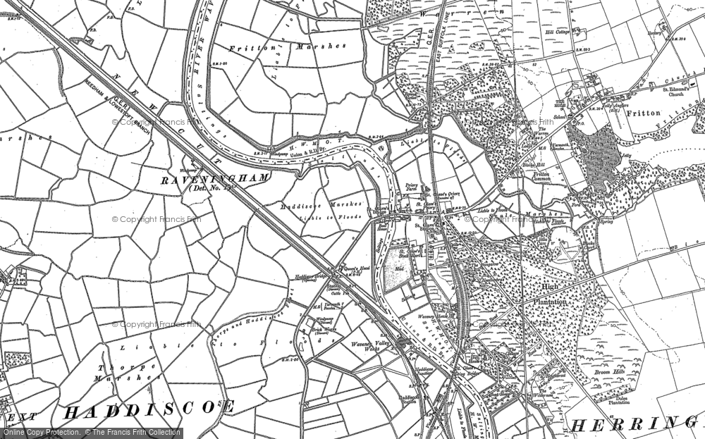 Old Map of St Olaves, 1884 - 1904 in 1884