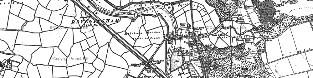 Old map of St Olaves in 1884