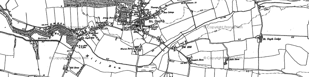 Old map of St Osyth in 1896